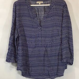 KENAR WOMAN  blue black white blouse Sz 1X